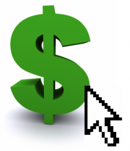 dollar sign, mouse pointer, pay per click marketing